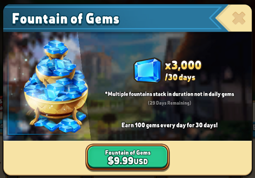 Fountain of Gems Purchase Screen