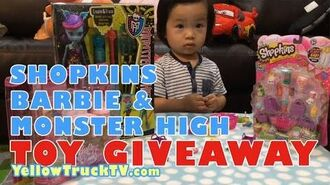 Shopkins Giveaway 2015 with Barbie & Monster Dolls Giveaway 2015 - Thomas Train Winner Announcement