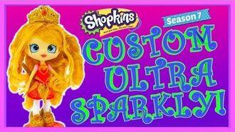 Shopkins Season 7 Tiara Sparkles MAKEOVER Golden TALKING doll DIY How To Make Glitter Shoppies