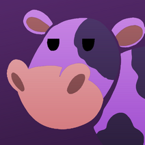 Purple cow badge