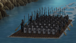 Standing Army on Raft close-up