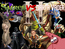 SHREK VS DARTH VADER ATTACK OF THE TITANS poster