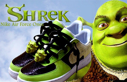 best service 7050b d9206 Nike Air Force Shoes are shoes in real-life. In the Shrek version, they had  green and black colors and each had a Shrek head hood ornament.