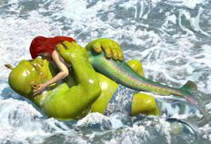 Shrek kissing Ariel