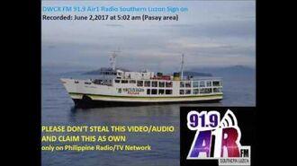 DWCX FM 91.9 Air1 radio Southern Luzon Sign on (June 2017).