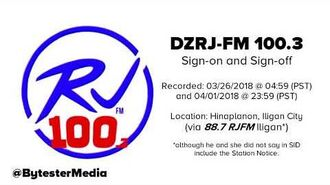 DZRJ-FM 100.3 Sign-on and Sign-off -26-MAR-2018 and 01-APR-2018-