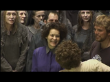 Alice Krige talking with the crew