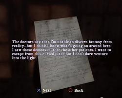 A patients note memo