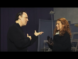 Deborah Kara Unger and Christophe Gans talking with each other in the Sacrifical Chamber