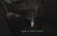 Heather picks up wine bottle