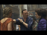 Christophe showing Alice and Radha how to perform the moment of Rose's stabbing