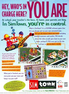 SimTown game print ad NickMag June July 1996