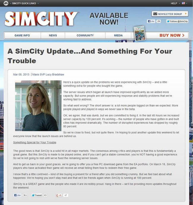 Lucy Bradshaw 'A SimCity Update...And Something For Your Trouble'