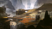 Aquitanian Mining Complex, Space Tether on Background