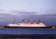 SS Aquitania docked at Stritch