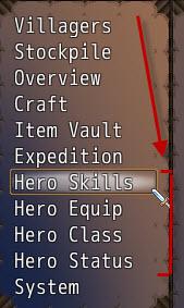 Hero menu options
