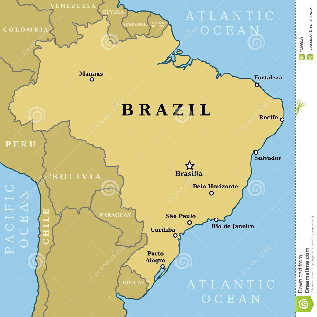 Image Brazilmapcountryoutlinelargestcitiesincluding - World largest cities map