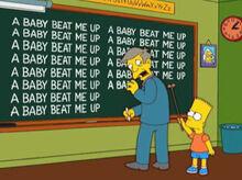 Bart aponta amendoim skinner quadro