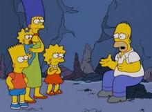 Homer contando historia pra familia