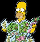 Homer Looking at Map (Artwork)