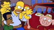 Homer angry with pig