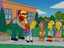 Willie revistando alunos amendoim