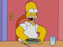 Homer cebola nas ervilhas