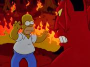 Homer tentando assustar o diabo