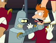 Bender chokes Fry