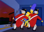 Guards escorts Marge and Bart out