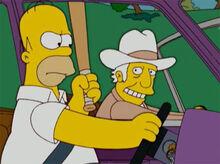 Homer bastão carro texano