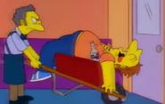 Barney in a wheelbarrow
