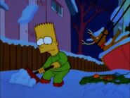 Bart buried the melted Christmas tree
