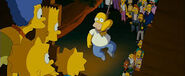 The Simpsons Movie Homer hanging from Noose with Angry Mob angrily stairring at him