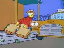 Lyle lanley fugindo dinheiro taxi