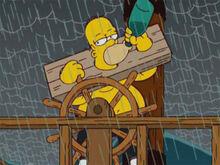 Homer preso navegando bebado