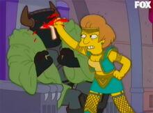 Krabappel feiticeira ataca cavaleiro
