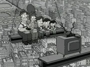 Simpsons lunch atop a skyscraper