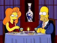 Homer i Mindy w restauracji