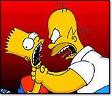 Homer estrangulando Bart