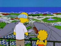 Burns i Lisa przed siecią ryb