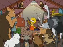 Lisa esconde animais sotão