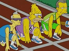 Vovô desanimado corrida olimpiadas