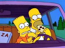 Bart volante homer pizza
