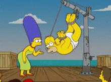 Homer pendurado anzol nariz