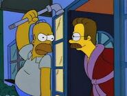 Homer trying to hit ned with pipe