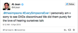Al Jean message about Simpsons DVDs being discontinued