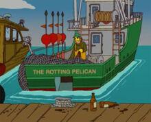 Capitão pelicano podre barco