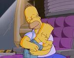 Homer and Bart embrace