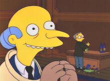 Burns feliz smithers derruba garrafa